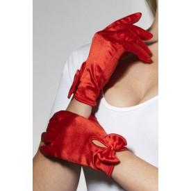 Атласные перчатки с бантом